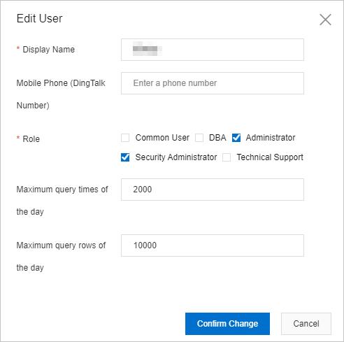 Edit User dialog box