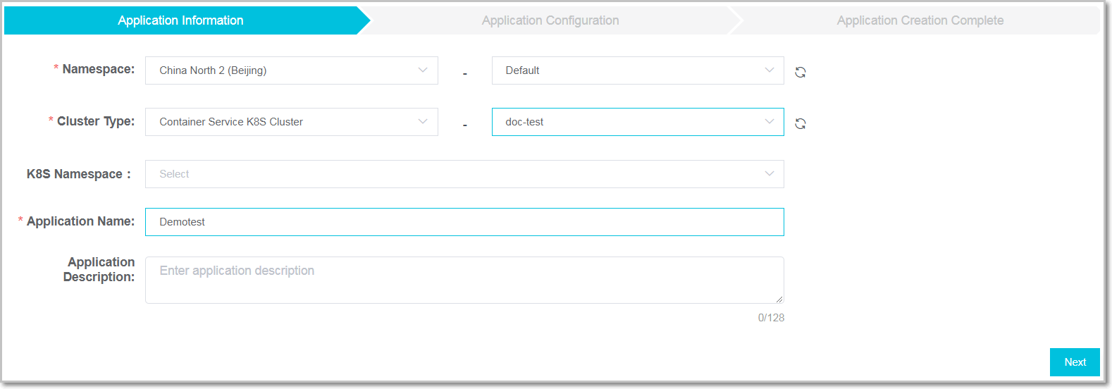 Create app in acsk8s cluster